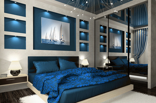 Decor albastru dormitor