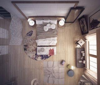 Dormitor cu paravan despartitor