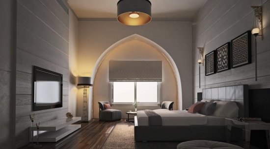Dormitor matrimonial puternic iluminat
