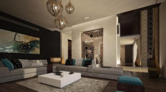 Living cu mobilier modern si accente decorative marocane