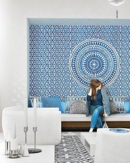 Perete decorativ din mozaic in tonalitati de albastru