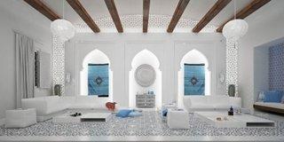 Stilul marocan in combinatie de alb si albastru