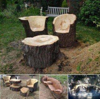 Idee de set de gradina cioplit in lemn