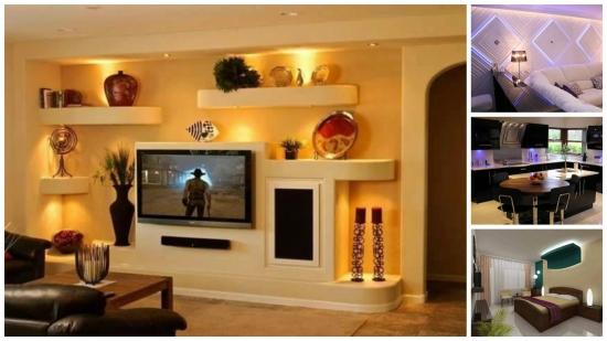 Lumini LED pentru decorarea peretilor interiori - exemple uimitoare