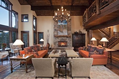 Living rustic cu candelabru mare in stil clasic