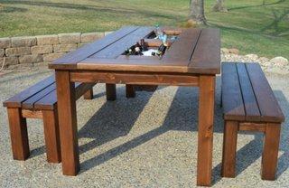 Set de masa cu bancute pentru gradina cu cutie pentru gheata