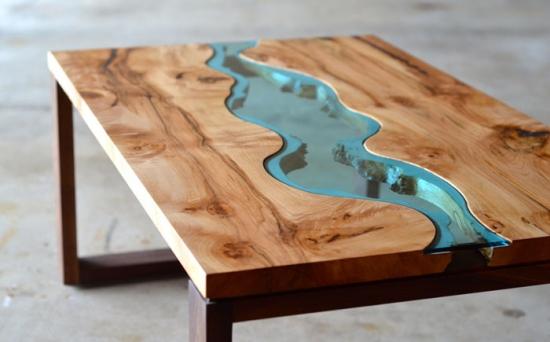 Combinatie de lemn natur si sticla pentru un design modern de masuta de cafea