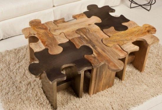 Masuta cafea lemn model puzzle