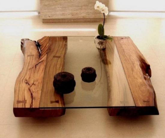 Masuta de cafea din lemn si sticla
