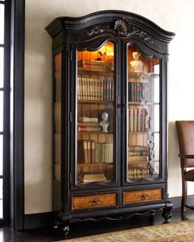 Biblioteca model clasic din lemn masiv vopsit negru