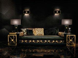 Canapea din piele neagra combinata cu material textil