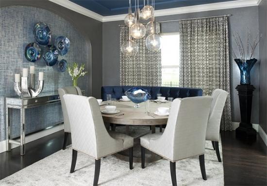 Dinning elegant in nunate de gri antracit si albastru gaciar