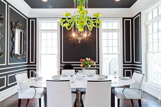 Dinning modern cu masa rotunda si scaune albe