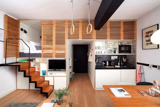 Micro apartament amenajat in stil loft modern