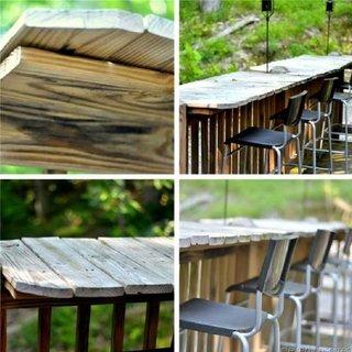 Mini-bar exterior realizat din scanduri de lemn si suport de lemn