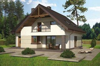 Casa cu mansarda pe structura lemn