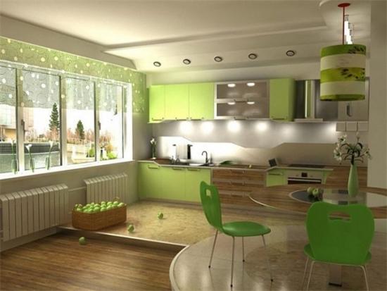 Mobila combinatie verde mar cu mesteacan