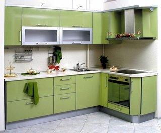 Mobila verde cu gri pentru bucatarie in forma de L