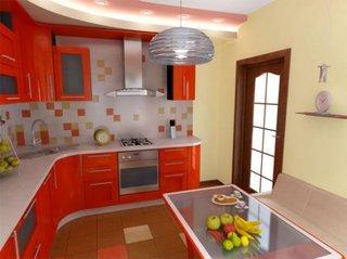 Mobilier de bucatarie portocaliu cu chiuveta pe colt