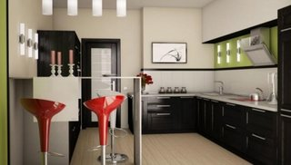 Mobilier negru pentru bucatarie asezat pe colt