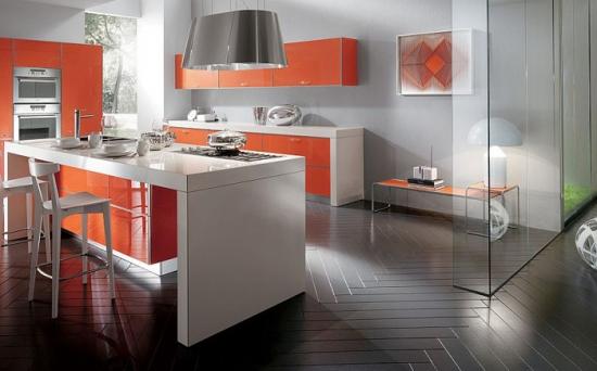 Fronturi din sticla portocalie pentru mobila de bucatarie