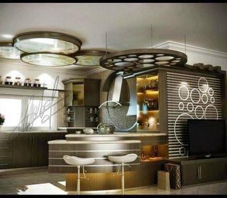 Bucatarie moderna decorata cu bar original