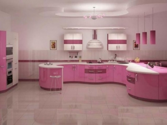 Mobila de bucatarie moderna roz cu alb