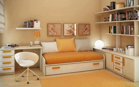 Camera tineret cu pat simplu si birou