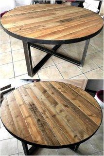 Masa rotunda din lemn si fier