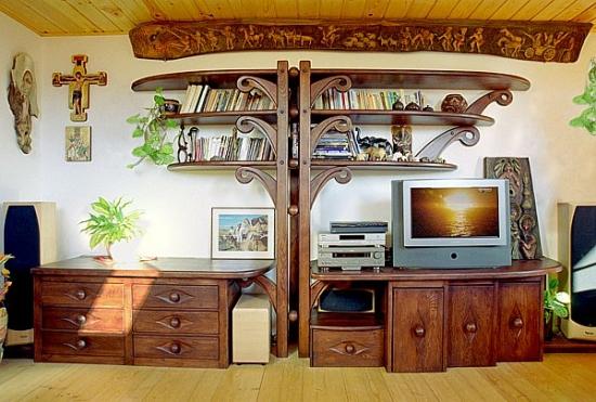 Mobila lemn masiv pentru living cu spatiu pt TV