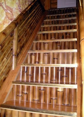 Scara interioara cu balustrada sii constratrepte din bete de bambus