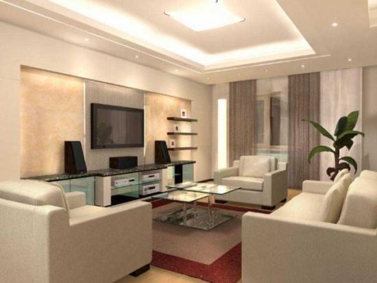 Biblioteca cu comoda TV si etajere din rigips