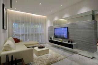 Combinatie de rigips si sticla pentru mobila televizor