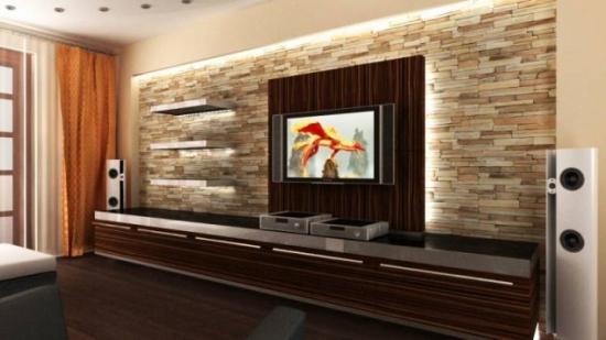 Decor cu piatra decorativa pentru perete cu televizor
