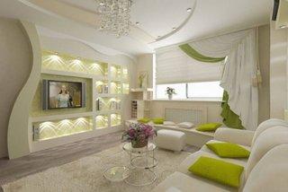 Decor perete TV living din gips carton