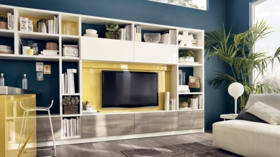 Biblioteca cu loc pentru TV si etajere
