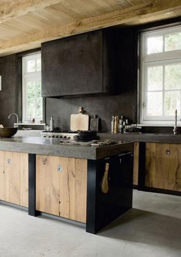 Mobilier negru cu placi din lemn natur