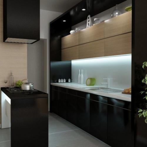 Mobilier negru de bucatarie cu  LED-uri incorporate