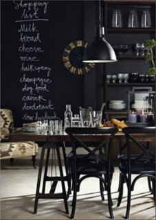 Zona de bucatarie, living si dining open space cu vopsea cu efect de tabla