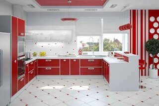 Bucatarie mare cu mobila rosu cu alb