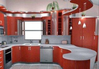Mobila moderna pentru bucatarie culoare rosie