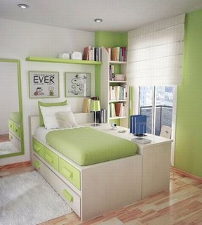 Dormitor pentru copii in combinatie de alb cu verde
