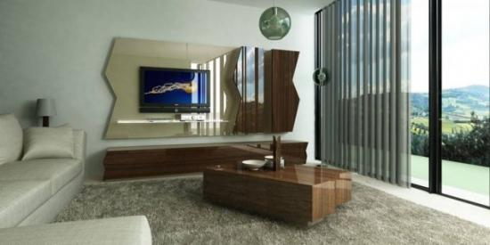 Comoda lemn perete cu televizor