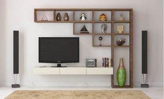 Etajera si rafturi living perete cu televizor