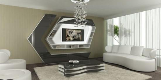 Mobilier elegant perete cu televizor