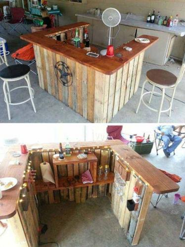 Bar de exterior construit simplu din paleti refolositi
