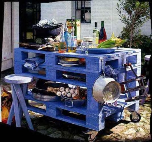 Insula pentru bucataria de vara confectionata din lemn