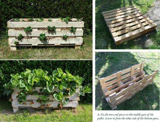 Jardiniera pentru plantare capsuni din paleti