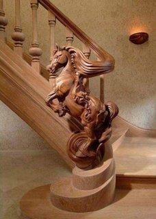 Balustrada sculptata din lemn
