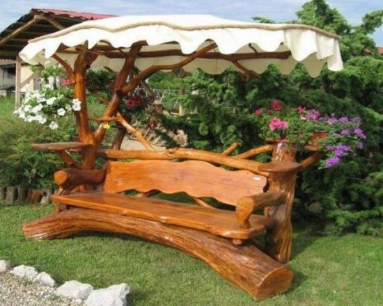 Banca rustica din lemn pentru gradina